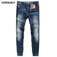 Hot koop punk jeans heren merk superably jeans volledige met logo regular fit heren jogger jeans ripped denim broek U379
