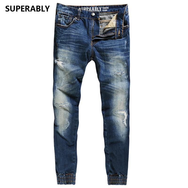 hot sale punk blue jeans men brand superably jeans full with logo regular fit men`s jogger jeans ripped denim pants U379 men s cowboy jeans fashion blue jeans pant men plus sizes regular slim fit denim jean pants male high quality brand jeans