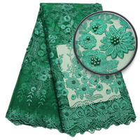 African Lace Fabric Latest Nigerian Green Beaded Lace Fabrics Beautiful Net Lace Fabric High Quality
