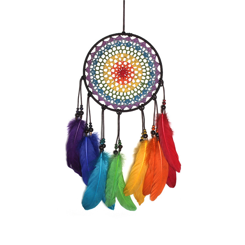 Handmade color crochet flower chasing dreamer wind chime hanging ornaments colorful world seven-color life home garden decor