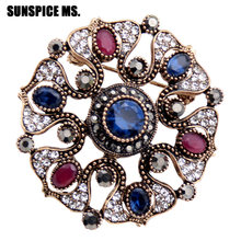 Wholesale Turkish Women Big Round Flower Resin Brooch Pins Antique Gold  Color Rhinestone Ethnic Broches Jewelry Indian Corsage 1a9c3012ef65
