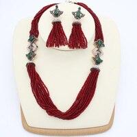 우아한 에나멜 터키어 여성 구슬 수지 목걸이 꽃 수제 보석 골동품 골드 컬러 술 인도 신부 Bijuterias