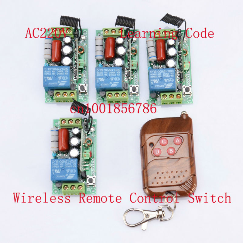 220V 1CH 10A 4Receiver & Transmitter RF Wireless Remote Switch For Light Lamp LED SMD ON OFF Momenrary Toggle Latched Adjustable 2pcs receiver transmitters with 2 dual button remote control wireless remote control switch led light lamp remote on off system