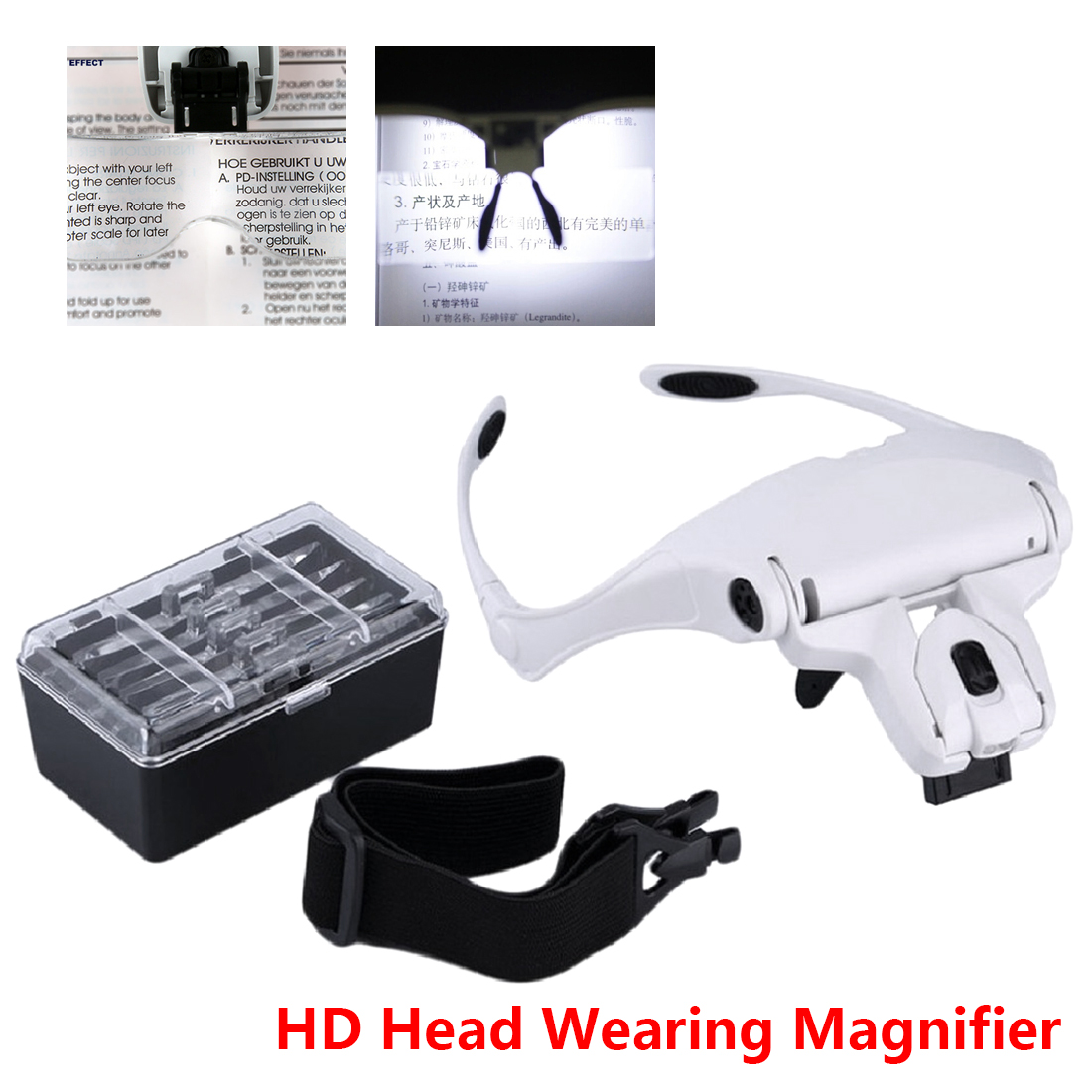 Headband Magnifying Glass Creative 1.0X 1.5X 2.0X 2.5X 3.5X 5 Lens Adjustable LoupeMagnifier With LED Magnifying Glasses