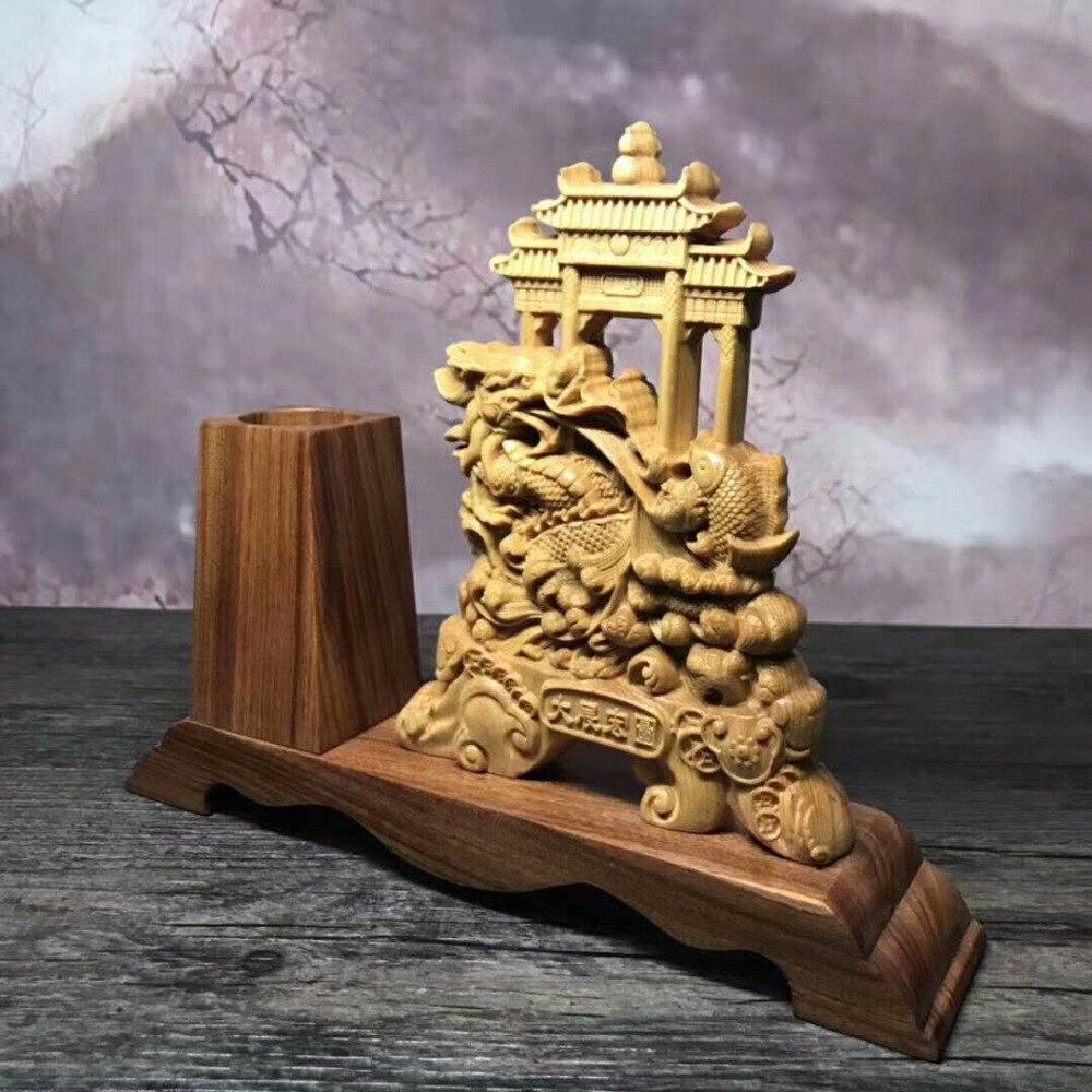 Magnifique sculpture sur bois arborvitae maison de ville chanceuse de décoration d'ameublement bureau ornements chinois. - 5