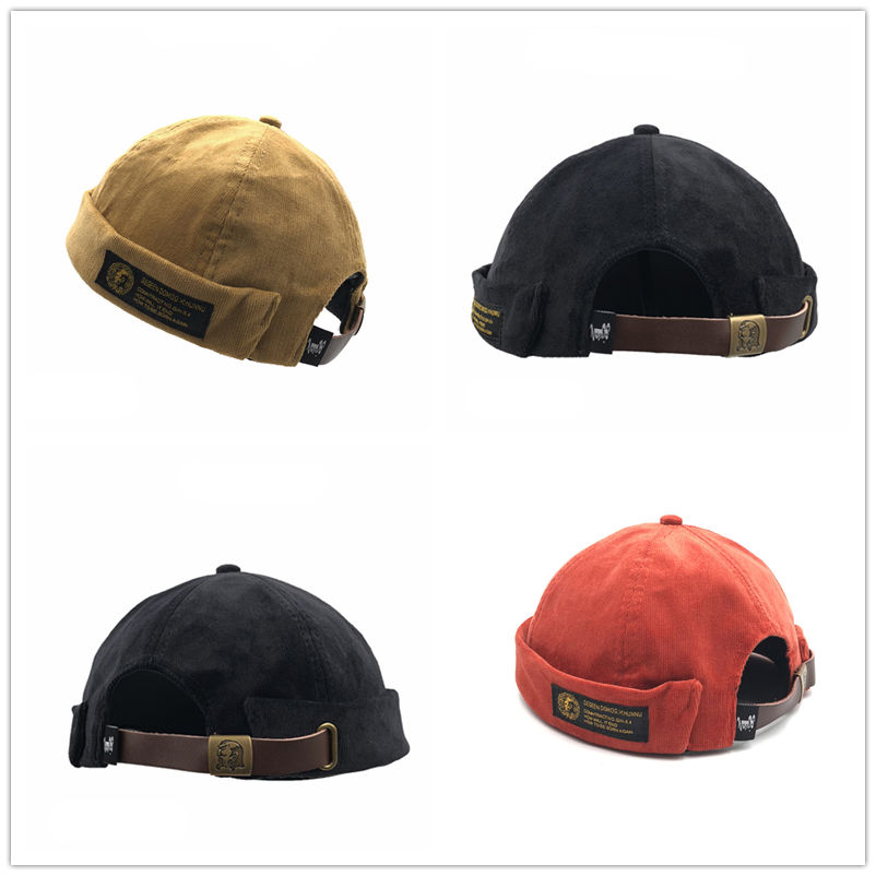 Men Street Casual Docker Sailor Biker Hat Mens Corduroy Adjustable French Brimless Hat Vogue Retro Skullcap Pumpkin Navy Beanie