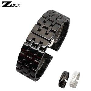 Image 1 - Correa de reloj de cerámica pura, 17mm, 20mm, correa de reloj blanca y negra, hebilla de mariposa, pulsera, correa, accesorios de reloj
