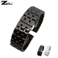 Pure Ceramic watchband watch band 17mm 20mm white black watch strap Butterfly Buckle wristband bracelet belt watch accessories
