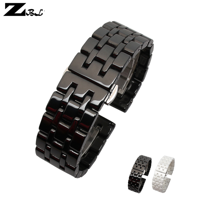 Pure Ceramic watchband watch band 17mm 20mm white black watch strap Butterfly Buckle wristband bracelet belt watch accessories