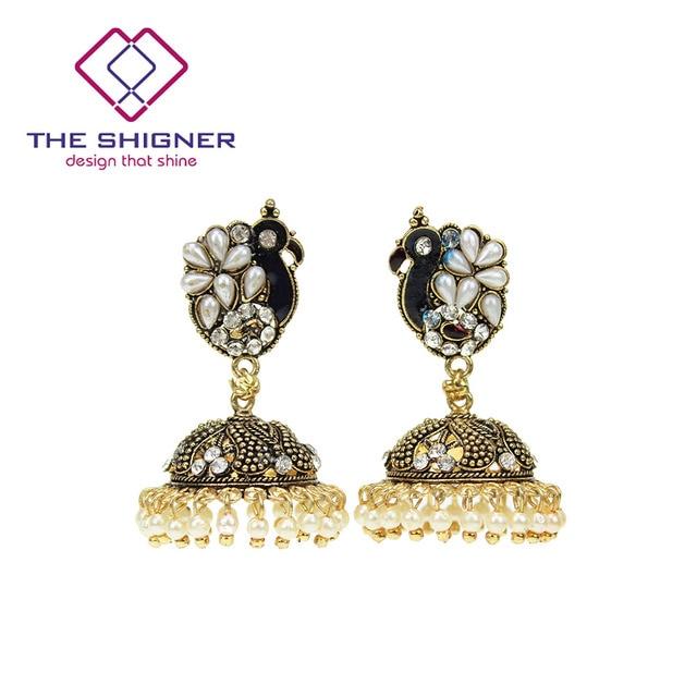 fbb1dacfd THE SHIGNER Indian Ethnic Peacock Pearl Stone Jhumka Jhumki Meenakari  Earring Birdcage Style Earrings Dangle Earring Jewelry