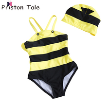 2017 New Children Yellow Bee with Wing Swimwears Little Bee Swimsuits Cute Baby Kid Girl Boy Honeybee Swimwear Bathing Suit 180