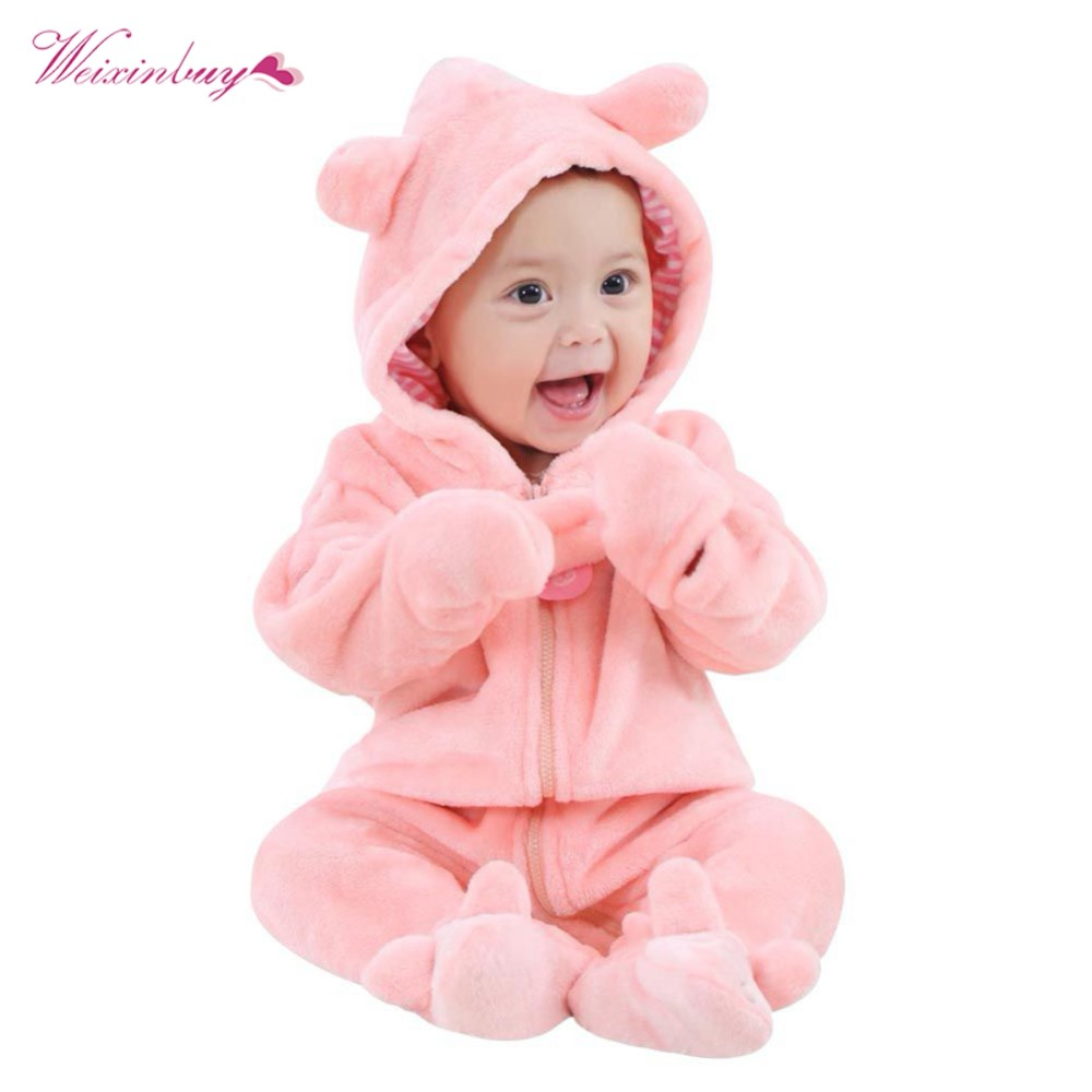 Baby Rompers Autumn Winter Cotton Fleece Long Sleeve Rompers Coverall Hooded Jumpsuit Cute Bear Snowsuit Babies Jumpsuits