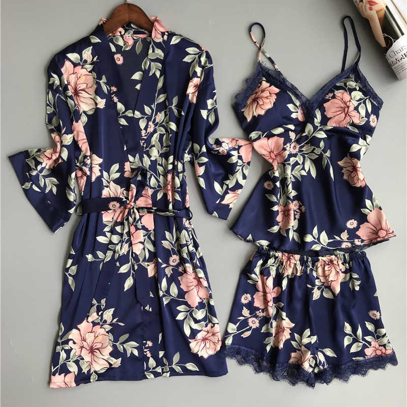 Пижама с нагрудники на тонких бретельках 2019 женская пижама из 3 предметов атласная Шелковая пижама для сна