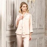 Летние шелковые пижамы домашний интерьер простой отворот костюм 100% шелковые 19 момме