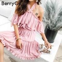 BerryGo Sexy Холтер с открытыми плечами летнее платье рюшами спинки мини-платье женщин Повседневное шифоновое Короткое Платье Женское vestidos 2018