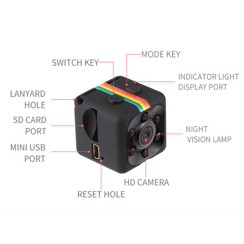 SQ11 Mini Camcorder wide-angle lens HD 1080P Wide Angle Mini Camcorder DVR Sport Video Mini-Camera Flexible Video Camera