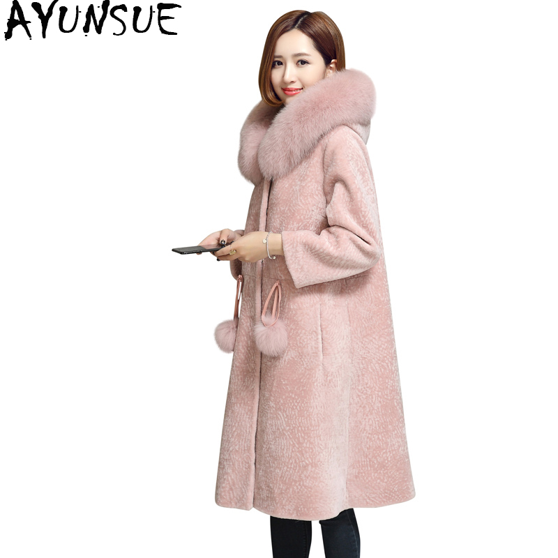 AYUNSUE Natural Sheep Shearing Real Fur Coat Hooded With Fox Fur Collar Winter Long Wool Overcoat Female Jacket Clothing WYQ769 overcoat