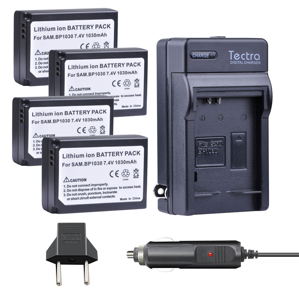 Tectra 4pcs BP-1030 BP 1030 BP1030 <font><b>Battery</b></font> + Car Charger for <font><b>Samsung</b></font> NX200 NX210 NX300 NX500 NX1000 <font><b>NX1100</b></font> NX-300M <font><b>Battery</b></font> image