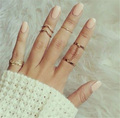 2016 new 6pcs /lot Shiny Punk style Gold plated Stacking midi Finger Knuckle rings for women Charm Leaf Ring Set  Jewelry