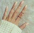 2016 novo 6 pçs/lote Brilhante Punk estilo banhado a Ouro Empilhamento Conjunto Anel de Dedo midi Knuckle anéis para as mulheres Charme Folha jóias