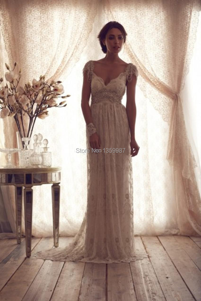 2015 Svadobne Saty Bohemian Style Sexy Backless Wedding Dresses Anna  Campbell A Line Cap Sleeves Crtstal Vestido De Novias-in Wedding Dresses  from Weddings ... 183e78a245f