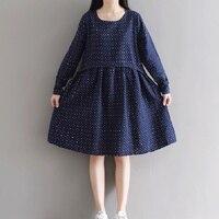 Autumn Dress Dot Print Vestido De Festa Blue Khaki Color Women Dress Plus Size Women Clothing