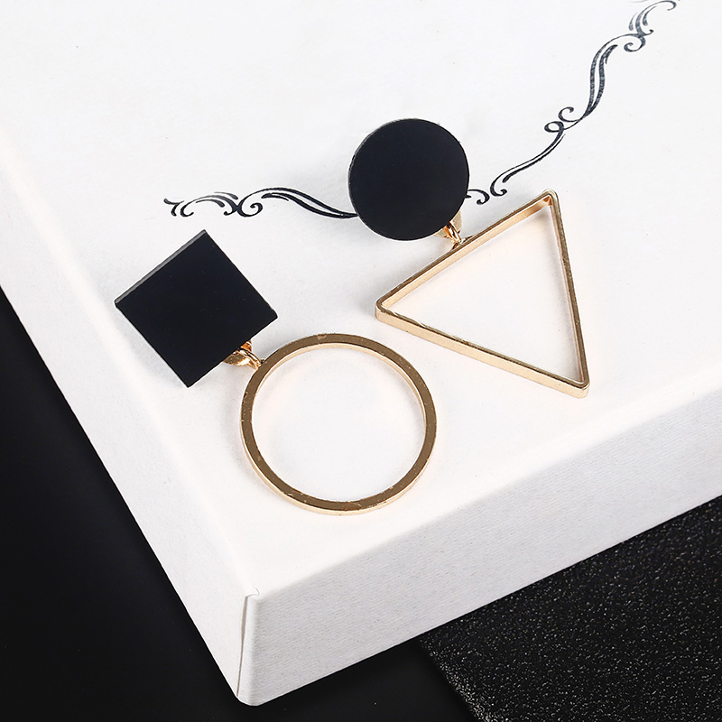 New Fashion Geometric Stud Earrings For Women Round Triangle Design Elegant Earrings For Birthday Wedding Gift Brincos(China)