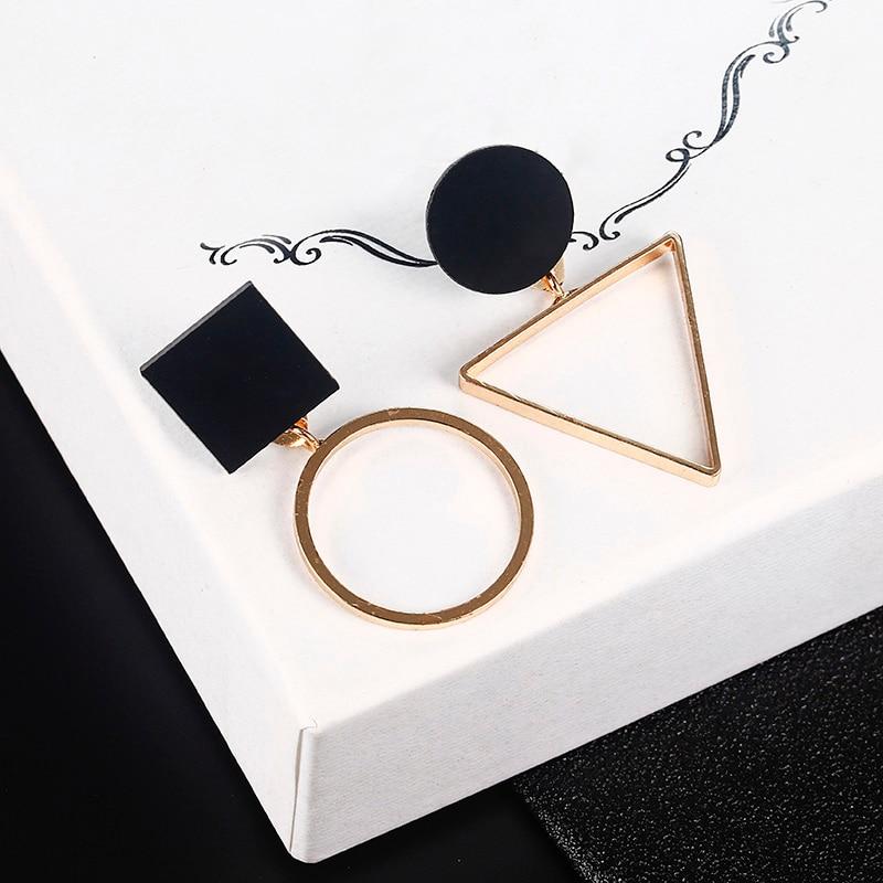 8b9c12770 New Fashion Geometric Stud Earrings For Women Round Triangle Design Elegant  Earrings For Birthday Wedding Gift