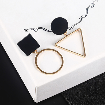 Fashion Geometric Stud Earrings For Women Round Triangle Design Elegant Earrings