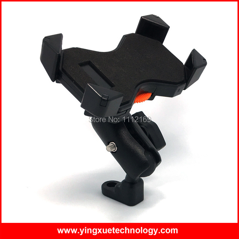 360 Degree Adjustable Motorcycle Scooter Rear View Mirror Mount Phone Holder Grip Stand for 3.5-6.5 inch Cell Phones and GPS