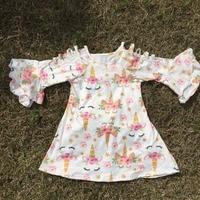 2018 New Summer Cotton Milk Silk Baby Girls Kids Boutique Clothes Dress Short Sets Unicorn Ruffles