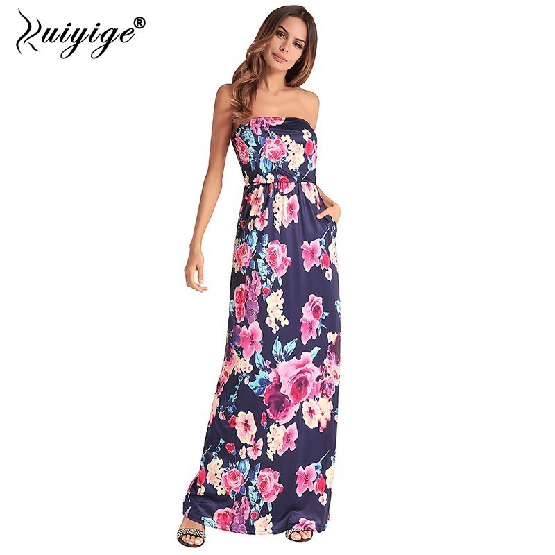 3a449bc284 Ruiyige 2018 Women Strapless Floral Print Maxi Dress Sexy Party Tunic  Vestido Boho Pocket Sundress Casual
