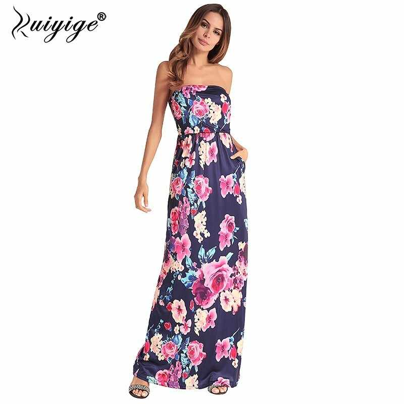 57951125a27 Ruiyige 2018 Women Strapless Floral Print Maxi Dress Sexy Party Tunic  Vestido Boho Pocket Sundress Casual