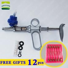 2/5 ml Continuo della siringa della pistola in metallo automatico siringa iniettore per il bestiame animale Pollo maiale vaccino siringa bottiglia di iniezione