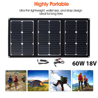 Cewaal Portable Folding 60W 18V waterproof Silicon Solar Pane Emergency Power Pane with USB+DC Port Outdoor Solar Charging