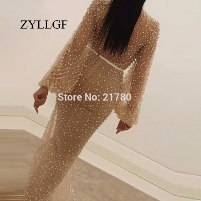 ZYLLGF Robe De Soiree Arabic Champagne Mother Of Bride Dress Middle East Full Pearls Abendkleider Mermaid Party Dresses RS123 1