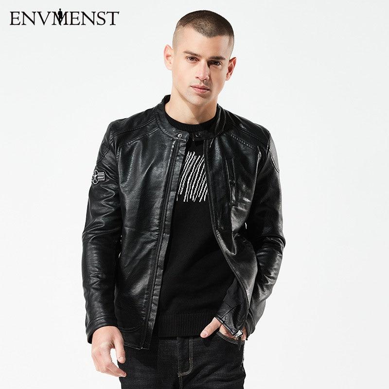 2018 Envmenst Marke Motorrad Lederjacken Männer Frühling Lederbekleidung Herren Jacken Männlich Business Casual Mäntel Xxxxl AusgewäHltes Material