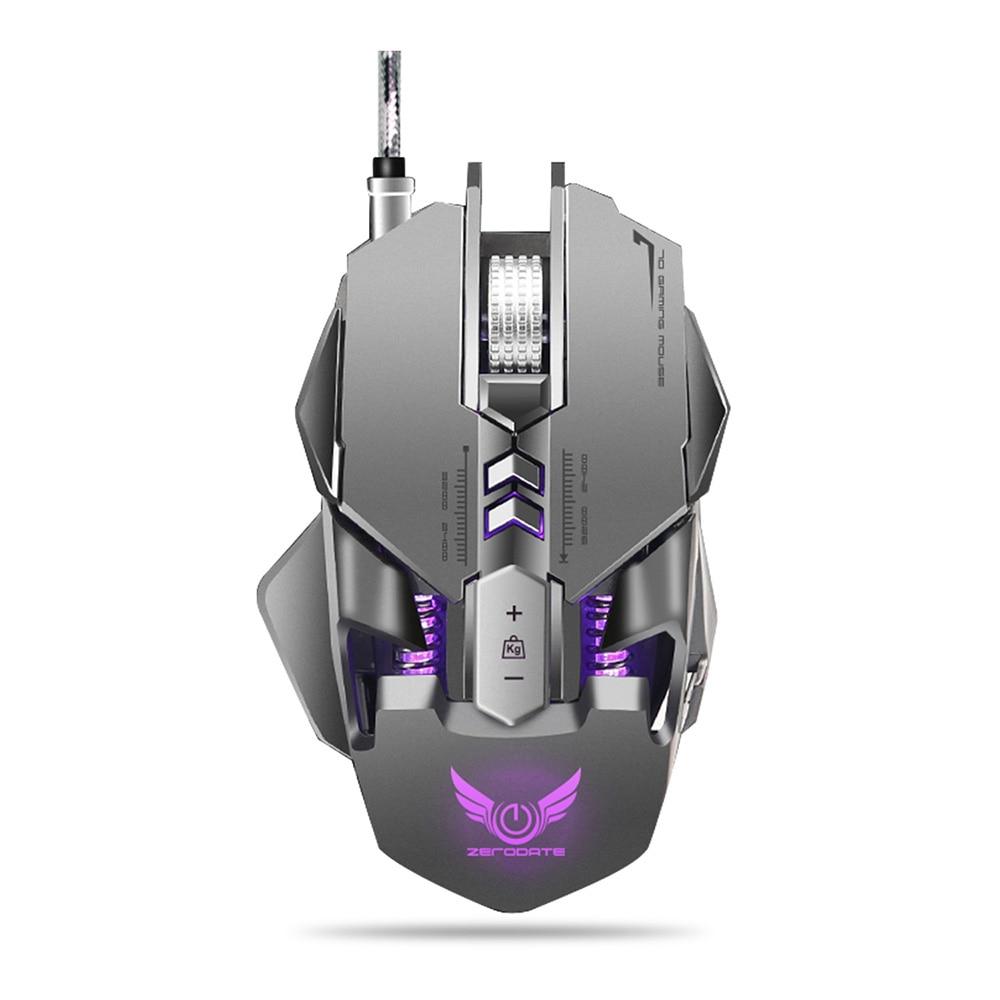 ZERODATE X300GY USB Filaire Gaming Mouse avec Réglable DPI Beetle Creative Professionnel 3D Gaming Souris RGB Cool Rétro-Éclairage De Nuit