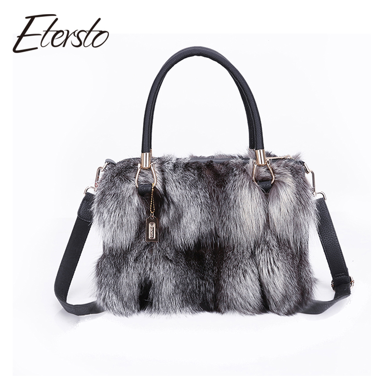 Etersto 2017 New Arrival Women Real Silver Fox Fur Messenger Bags Female Real Fur Handbag Real Fur Bag Ladies Crossbody Bags etersto 2017 new arrival women real mink fur handbag luxry real fur bag flap bags ladies crossbody bags female bags for lady