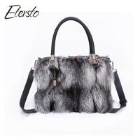 Etersto 2017 Nuevas Mujeres de la Llegada Real Silver Fox Fur Mensajero bolsas de Mujer Real Bolso de la Piel Real de Piel de Las Señoras Crossbody bolsas