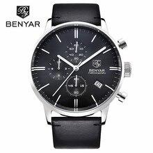 Fashion BENYAR Brand Men Quartz Watch Men's Luxury Business Watches Male Waterproof Chronograph Leather Clock Relogio Masculino
