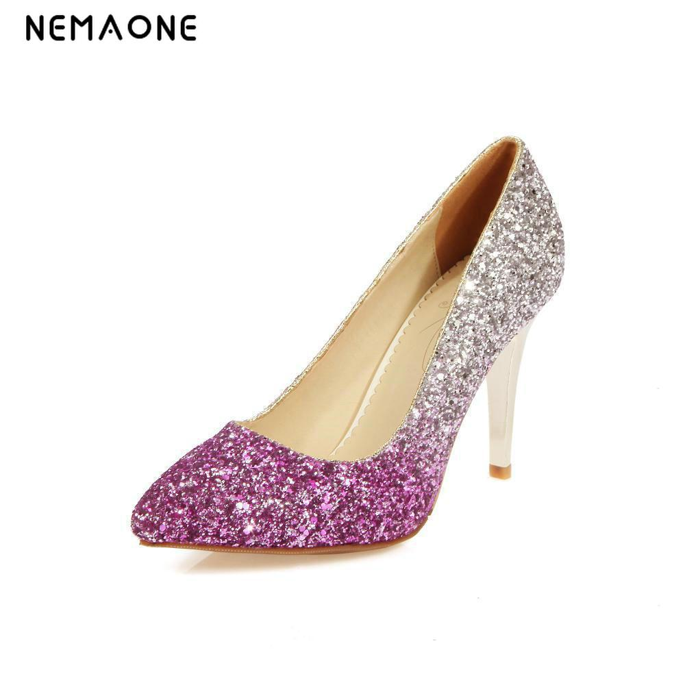 NEMAONE Big size 34-43 Women shoes pumps High heel Fashion sexy summer women Pumps Wedding shoes lady spool heels gold 11 12 big size 40 41 42 women pumps 11 cm thin heels fashion beautiful pointy toe spell color sexy shoes discount sale free shipping