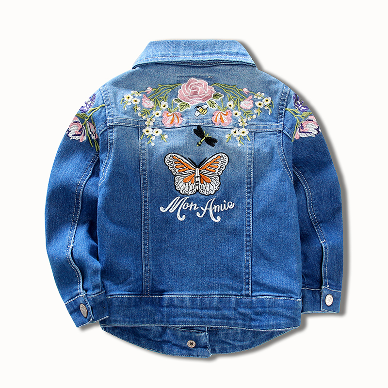 Girls Denim Jackets Coats Fashion Children Outwear Embroidery Cute Children's Clothing Spring Autumn Kids Jean Jacket 2-9 Yrs spring autumn kids motorcycle leather jacket black boys moto jackets clothes children outwear for boy clothing coats costume page 9