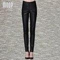 Black PU leather pants slim pencil pants trousers bottom pantalon femme pantalones mujer free ship LT812 Free shipping