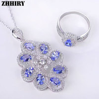 For Women Natural Blue Tanzanite Jewelry Sets 925 Sterling Silver Set Genuine Gemstone Pendant Necklace Ring Fine Jewellery
