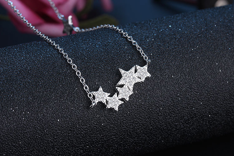 Silver Color Vintage Five Star Collier Femme Women Fashion Rhinestone Necklaces Chain Jewelry Girl 39 s Christmas Gift in Pendant Necklaces from Jewelry amp Accessories