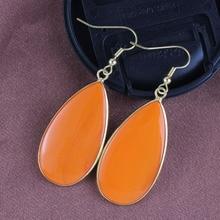 цена на XSM 18K Gold Plated Orange Turquoise Stone Water Drop Dangle Earrings For Women Trends Jewelry
