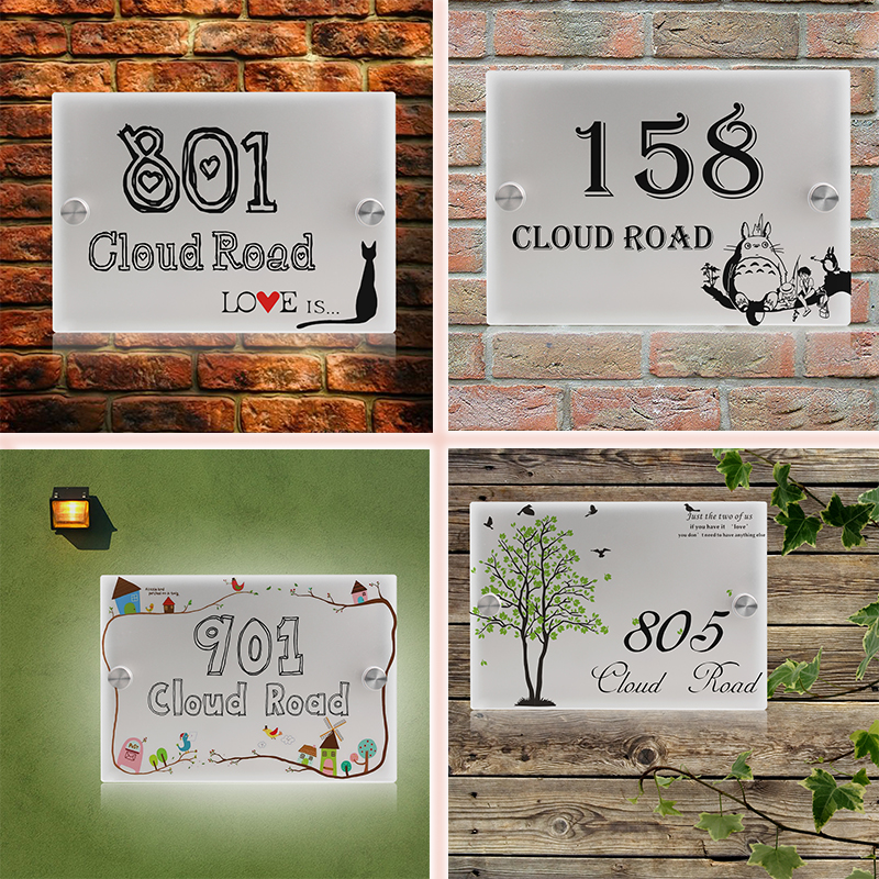 Personalized Modern House Number Door Sign Plaque Street