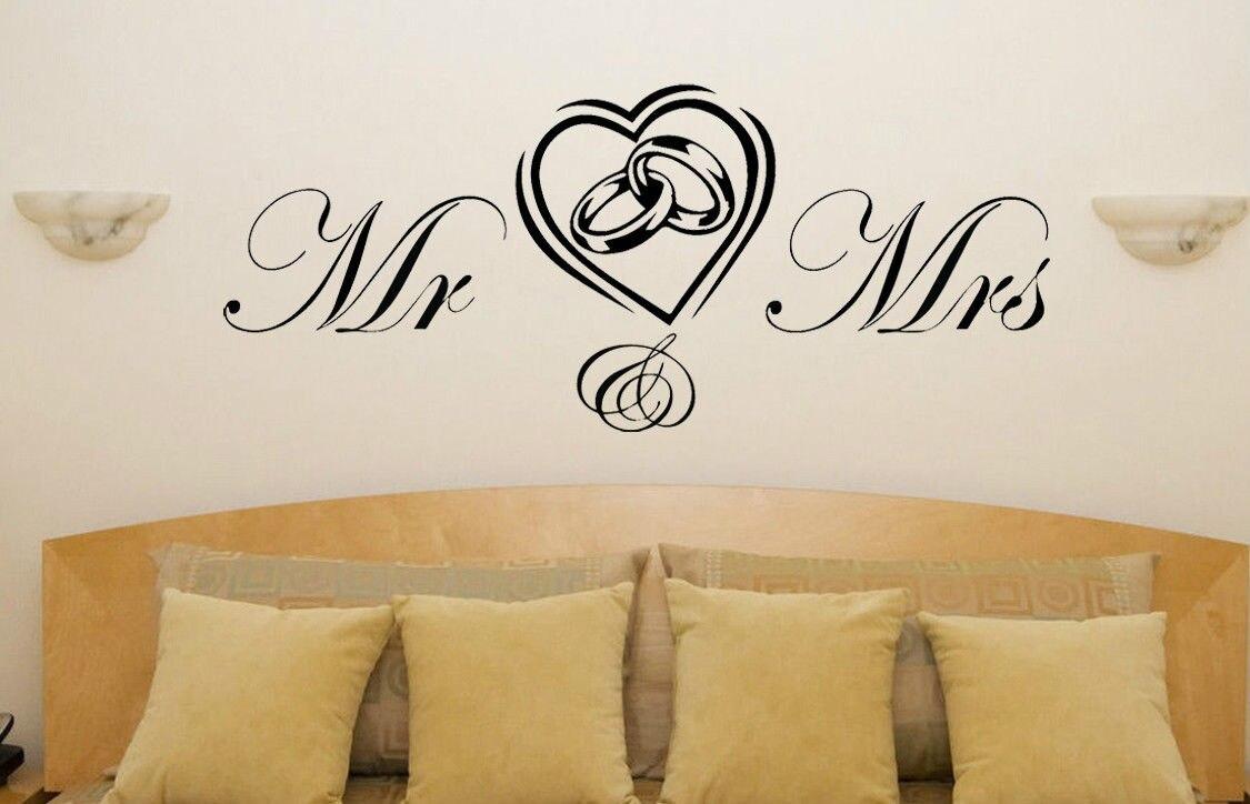 Q000 Mr a paní Srdce Prsteny Svatební Zásnubní Láska Ložnice Obtisky Umělecká Samolepka Doprava zdarma
