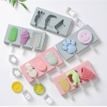 3 Cavity Silicone Ice Cream Mold Cartoon Cute Popsicle Molds Homemade Tray Maker Frozen Holder Mould Kitchen Tools